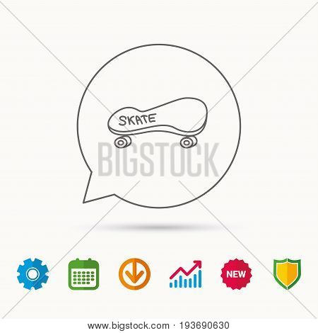 Skateboard icon. Skating sport sign. Skate with wheels symbol. Calendar, Graph chart and Cogwheel signs. Download and Shield web icons. Vector