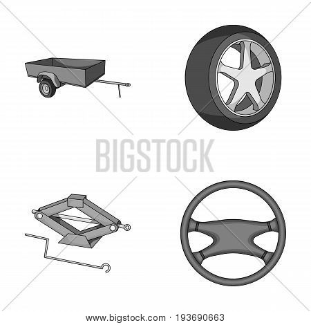 Caravan, wheel with tire cover, mechanical jack, steering wheel, Car set collection icons in monochrome style vector symbol stock illustration.