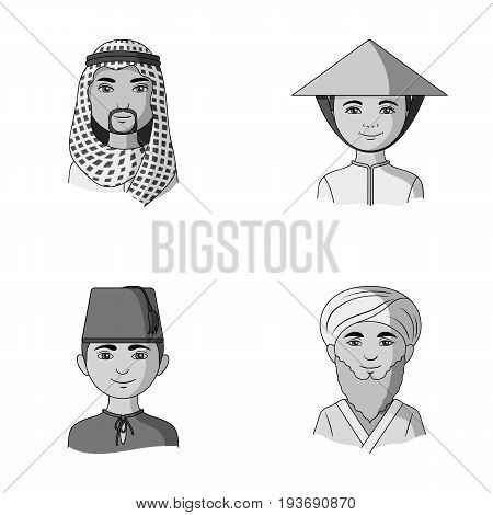 Arab, turks, vietnamese, middle asia man. Human race set collection icons in monochrome style vector symbol stock illustration .