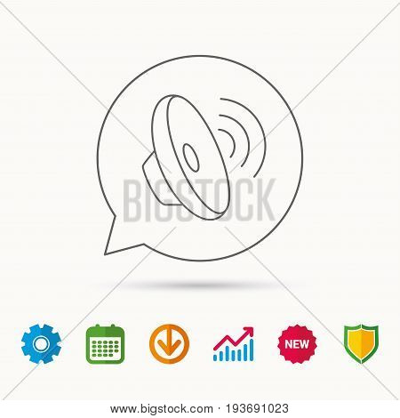 Sound waves icon. Audio speaker sign. Music symbol. Calendar, Graph chart and Cogwheel signs. Download and Shield web icons. Vector