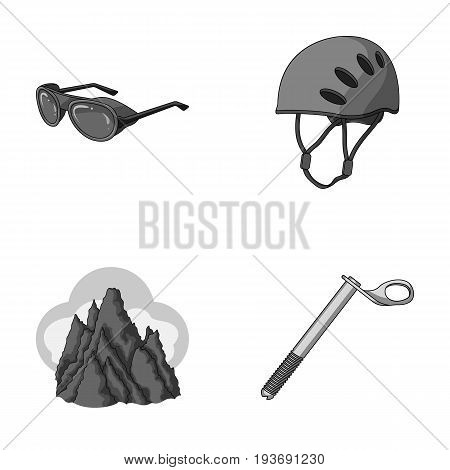 Helmet, goggles, wedge safety, peaks in the clouds.Mountaineering set collection icons in monochrome style vector symbol stock illustration .