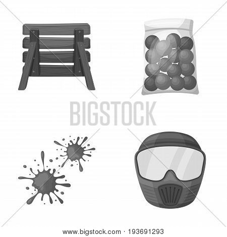 Wooden barricade, protective mask and other accessories. Paintball single icon in monochrome style vector symbol stock illustration .