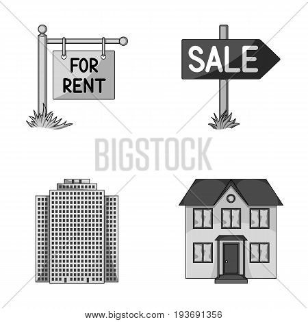 Signs of sale and rent, a skyscraper, a two-story cottage.Realtor set collection icons in monochrome style vector symbol stock illustration .