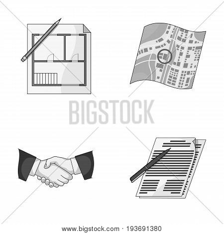 House plan, documents for signing, handshake, terrain plan. Realtor set collection icons in monochrome style vector symbol stock illustration .