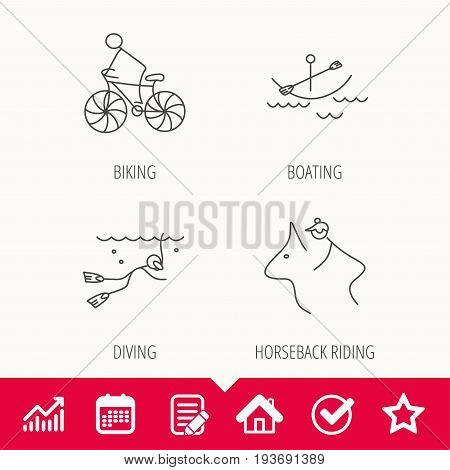 Diving, biking and horseback riding icons. Boating linear sign. Edit document, Calendar and Graph chart signs. Star, Check and House web icons. Vector