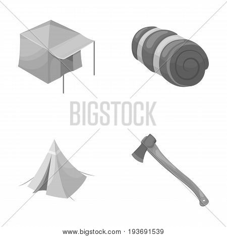 Tent with awning, ax and other accessories.Tent set collection icons in monochrome style vector symbol stock illustration .