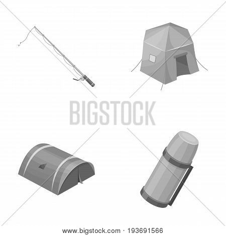 Spinning for fishing, tent, thermos.Tent set collection icons in monochrome style vector symbol stock illustration .
