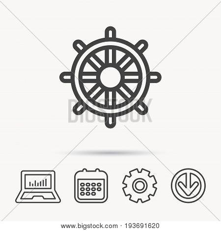 Ship steering wheel icon. Captain rudder sign. Sailing symbol. Notebook, Calendar and Cogwheel signs. Download arrow web icon. Vector