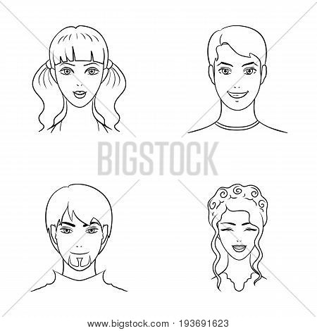 Different looks of young people.Avatar and face set collection icons in outline style vector symbol stock illustration .