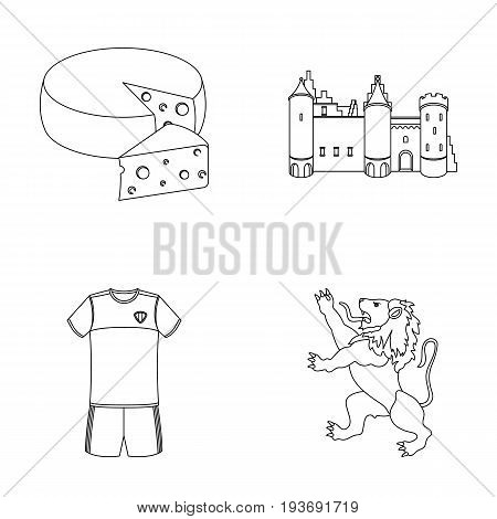 Cheese, lion and other symbols of the country.Belgium set collection icons in outline style vector symbol stock illustration .