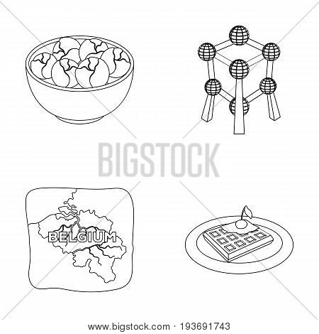 Territory on the map, brussels sprouts and other symbols of the country.Belgium set collection icons in outline style vector symbol stock illustration .