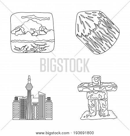Lakes, mountains, the tower of SI-EN and other symbols of Canada.Canada set collection icons in outline style vector symbol stock illustration .