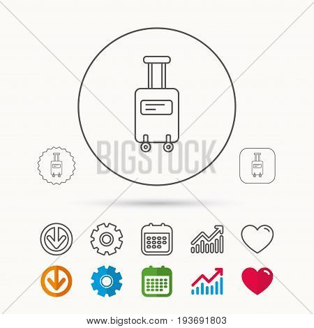 Suitcase with wheels icon. Travel baggage sign. Calendar, Graph chart and Cogwheel signs. Download and Heart love linear web icons. Vector