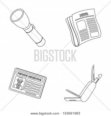 Flashlight, newspaper with news, certificate, folding knife.Detective set collection icons in outline style vector symbol stock illustration .