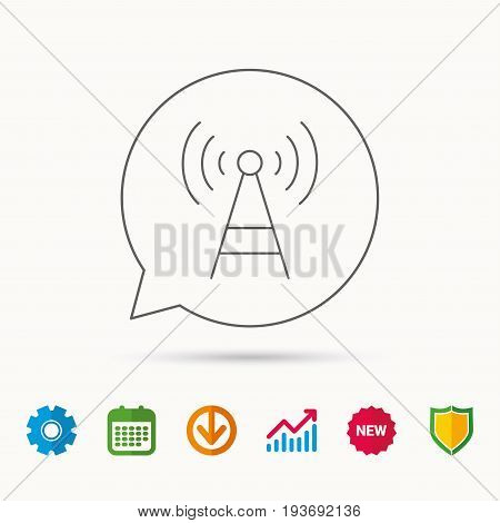 Telecommunication tower icon. Signal sign. Wireless wifi network symbol. Calendar, Graph chart and Cogwheel signs. Download and Shield web icons. Vector