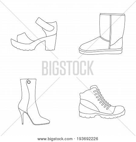 A set of icons on a variety of shoes.Different shoes single icon in outline style vector symbol stock illustration.