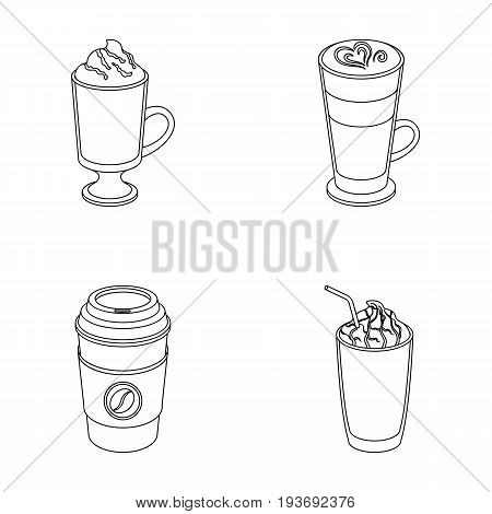 Mocha, macchiato, frappe, take coffee.Different types of coffee set collection icons in outline style vector symbol stock illustration .