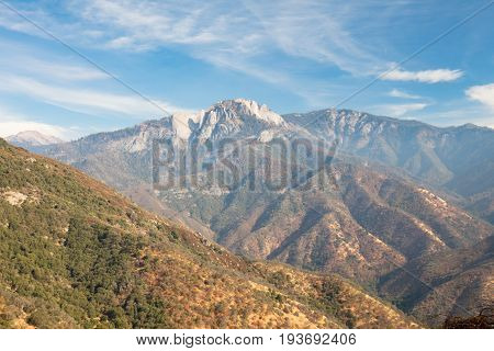 Amphitheater Point looking towards Castle Rock Peak in Sequoia National Park on Generals Hwy in California, USA