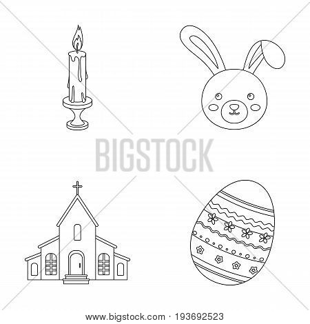 Church, candle, easter bunny and painted egg.Easter set collection icons in outline style vector symbol stock illustration .
