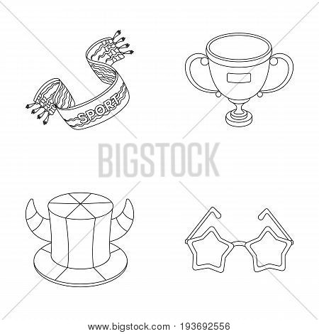 A scarf, a hat with horns and other attributes of the fans.Fans set collection icons in outline style vector symbol stock illustration .