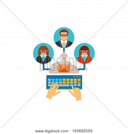 Vector icon of hands typing and sending e-mail to clients. Customer user interaction, networking, internet. CRM system concept. Can be used for topics like business, technology, communication