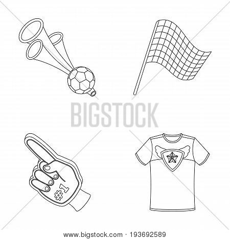 Pipe, uniform and other attributes of the fans.Fans set collection icons in outline style vector symbol stock illustration .