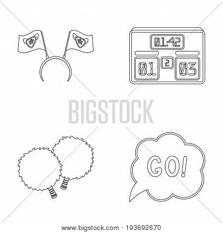 Hoop with flags and other attributes of the fans.Fans set collection icons in outline style vector symbol stock illustration .