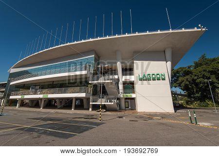 Rio de Janeiro, Brazil - June 30, 2017: Cinepolis Lagoon is the luxury cinema near the Rodrigo de Freitas lagoon in Rio de Janeiro city.