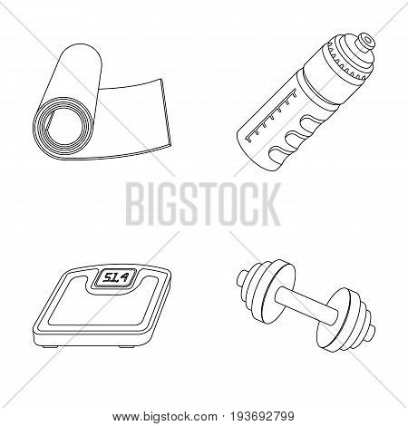 A dumbbell, a rug and other equipment for training.Gym and workout set collection icons in outline style vector symbol stock illustration .