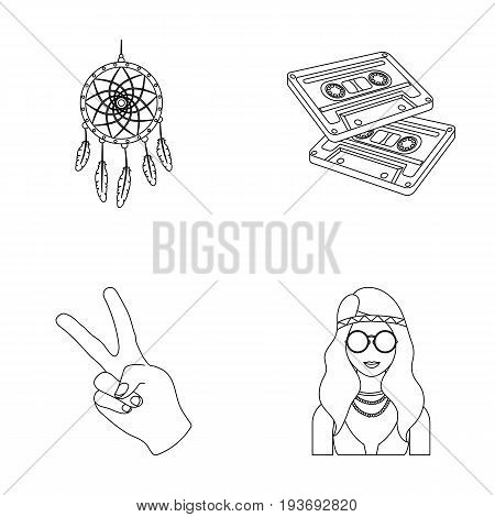 Amulet, hippie girl, freedom sign, old cassette.Hippy set collection icons in outline style vector symbol stock illustration.