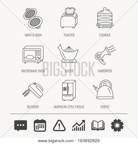 Microwave oven, teapot and blender icons. Refrigerator fridge, juicer and toaster linear signs. Hair dryer, steamer and waffle-iron icons. Education book, Graph chart and Chat signs. Vector