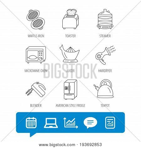 Microwave oven, teapot and blender icons. Refrigerator fridge, juicer and toaster linear signs. Hair dryer, steamer and waffle-iron icons. Report file, Graph chart and Chat speech bubble signs