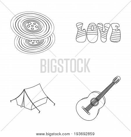 Vinyl discs, guitar, tent.Hippy set collection icons in outline style vector symbol stock illustration.
