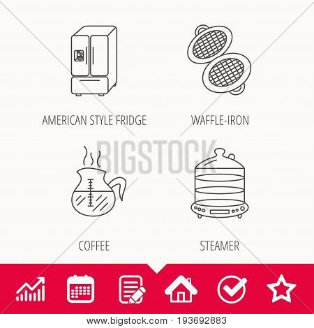 Waffle-iron, coffee and steamer icons. American style fridge linear signs. Edit document, Calendar and Graph chart signs. Star, Check and House web icons. Vector