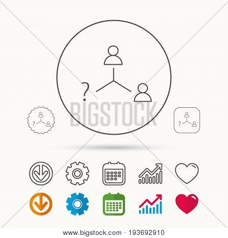 Vacancy or hire job icon. Teamwork sign. Question mark symbol. Calendar, Graph chart and Cogwheel signs. Download and Heart love linear web icons. Vector