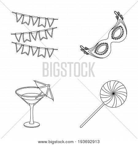 Garlands, cocktail and other accessories at the party.Party and partits set collection icons in outline style vector symbol stock illustration .