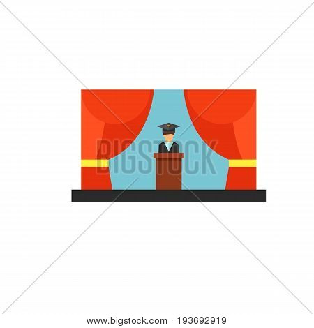 Icon of graduation speech. Ceremony, achievement, studying. Education concept. Can be used for topics like university, college, diploma