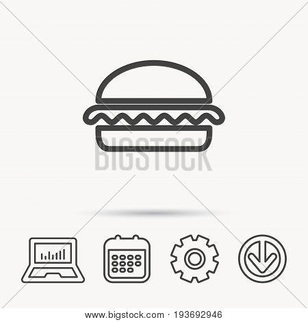 Vegetarian burger icon. Healthy fast food sign. Burger symbol. Notebook, Calendar and Cogwheel signs. Download arrow web icon. Vector