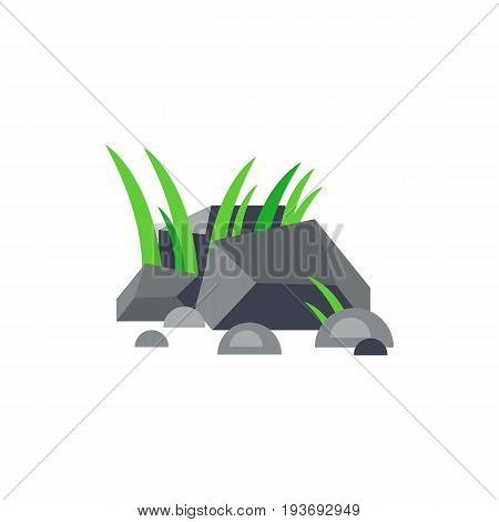 Vector icon of green grass in stones. Park, bog, urban landscape. City landscape concept. Can be used for topics like city, environment, nature