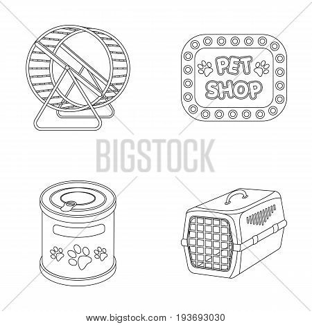 Container for carrying animals and other attributes of the zoo store. Pet shop set collection icons in outline style vector symbol stock illustration web.