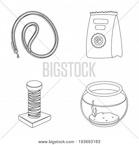 Leash, feed and other zoo store products.Pet shop set collection icons in outline style vector symbol stock illustration web.