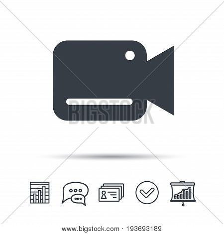 Video camera icon. Film recording cam symbol. Security monitoring. Chat speech bubble, chart and presentation signs. Contacts and tick web icons. Vector