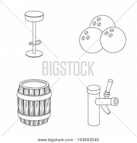 Restaurant, cafe, chair, bowling ball .Pub set collection icons in outline style vector symbol stock illustration .
