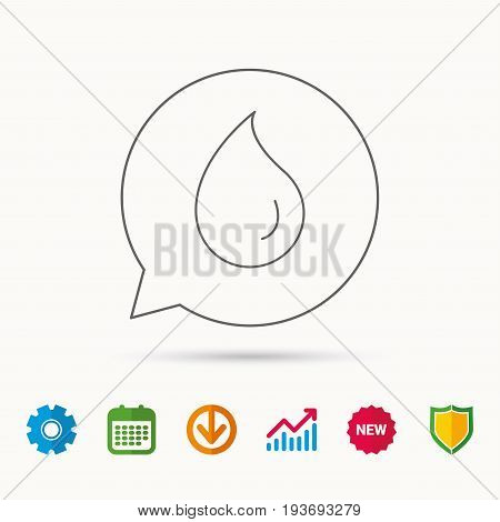 Water drop icon. Liquid sign. Freshness, condensation or washing symbol. Calendar, Graph chart and Cogwheel signs. Download and Shield web icons. Vector