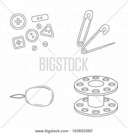 Buttons, pins, coil and thread.Sewing or tailoring tools set collection icons in outline style vector symbol stock illustration .