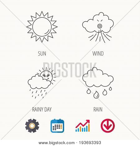 Weather, sun and wind icons. Rainy day linear sign. Calendar, Graph chart and Cogwheel signs. Download colored web icon. Vector