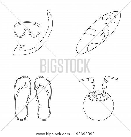 Diving, surfing, cocktail.Summer vacation set collection icons in outline style vector symbol stock illustration .