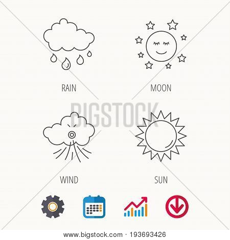 Weather, sun and rain icons. Moon night and wind linear signs. Calendar, Graph chart and Cogwheel signs. Download colored web icon. Vector