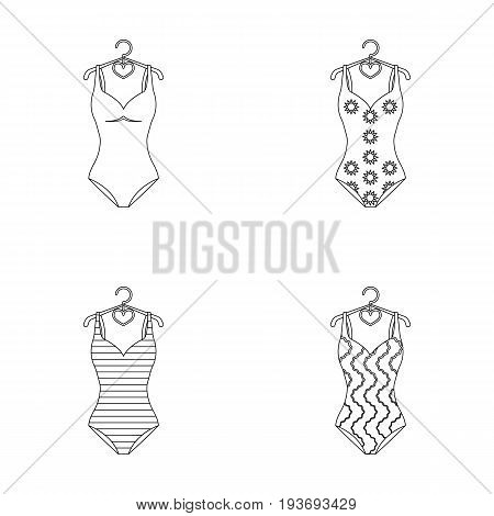 Different kinds of swimsuits. Swimsuitsset collection icons in outline style vector symbol stock illustration .