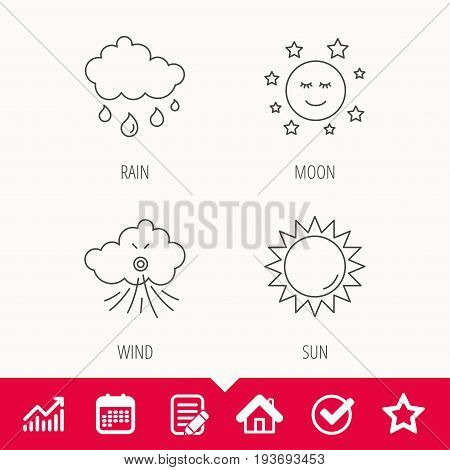 Weather, sun and rain icons. Moon night and wind linear signs. Edit document, Calendar and Graph chart signs. Star, Check and House web icons. Vector